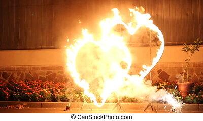 a man make fire show