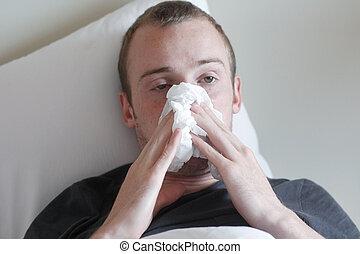 a, man, med, den, influensa