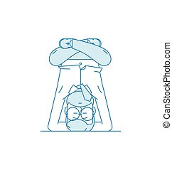 A man meditates in headstand.