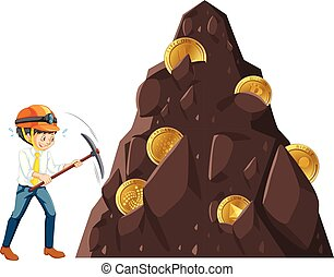 A Man Mining the Coin