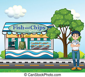 A man near the fish and chips store