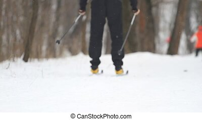 A man on cross-country skiing in a winter park