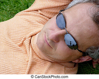 A man on the grass