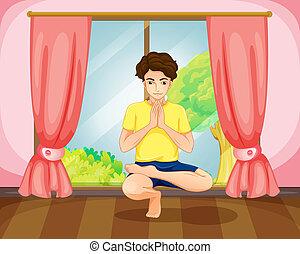 A man performing yoga near the window