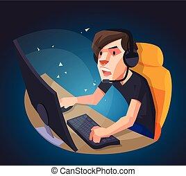 Man playing computer game vector illustration  An asian man