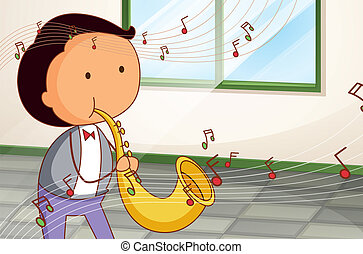A man playing a trumpet - Illustration of a man playing a...