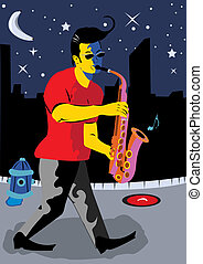 A Man Playing Sax - Vector illustration of a young man...