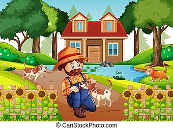 A man playing with a dog in nature scene