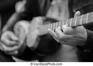 a man plays on a classical folk instrument tar of Azerbaijan