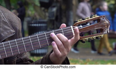 A man plays the guitar in the park