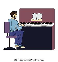 A man plays the piano. Vector illustration, isolated on white.