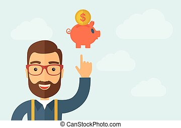 Man pointing the piggy bank icon