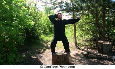 Man practices traditional Chinese kung fu gymnastics standing on a stump