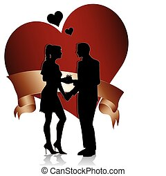 A man proposing marriage to woman with gift box. Couple silhouette with heart and ribbon isolated on white background