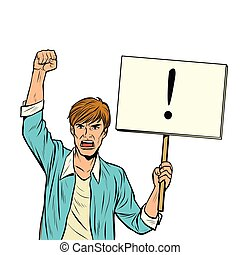 A man protests with a poster. Isolate on white background