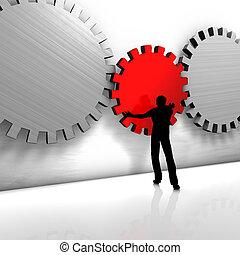A man puts a gear - A man improves a process or repairs a ...