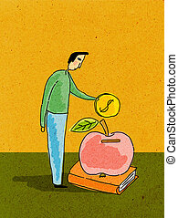 A man putting coin into an apple on a book