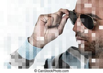 a, man, rörande, hans, solglasögon