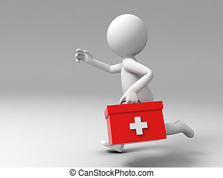 first aid - A man ran to the first aid