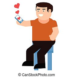 A man receives a love message icon