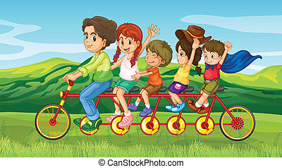 A man riding a bike with four kids