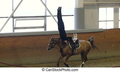 A man riding a brown horse. Vaulting and Trick riding. A man...