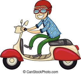 A man riding a scooter cartoon