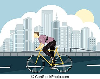 A man riding bicycle on a park road in city skyline ...