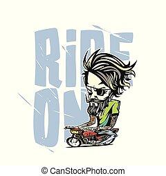 A man riding the bike vector illustration design.
