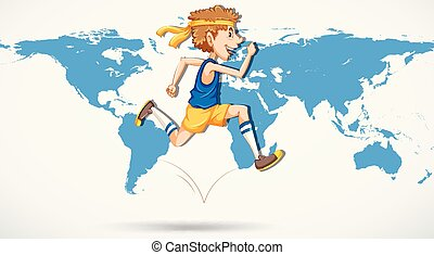 A man running on world map