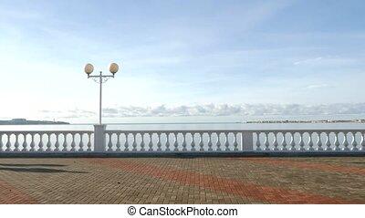 a man runs along the seafront. 4k, slow motion. - a man runs...