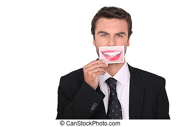 a man showing a woman smile picture