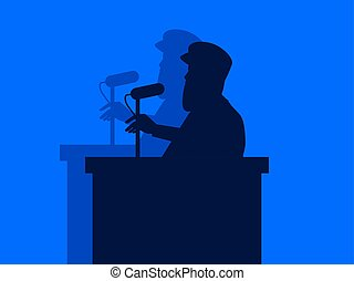A man speaks into the microphone from the podium. Speech by the speaker, military dictator. The contour of a man with a shadow. Vector illustration