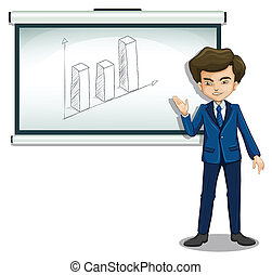 A man standing in front of a bulletin board with a graph