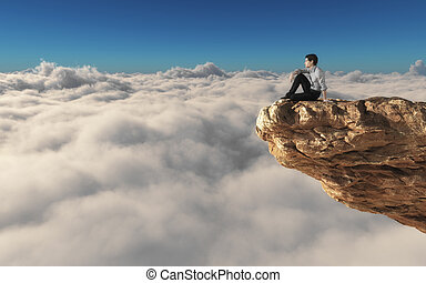 A man standing on a stone cliff