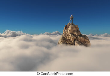 A man standing on a stone cliff over the clouds .Success...