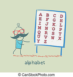 a man stands with alphabet