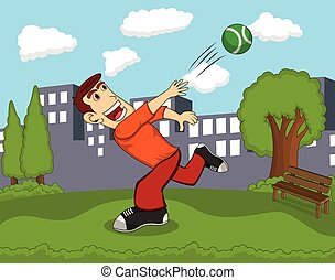 A man throwing a ball with city