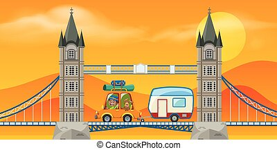 A Man Travel to London Bridge