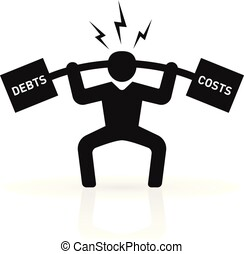 a man under pressure of lifting debts and costs