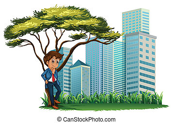 A man under the tree across the tall buildings