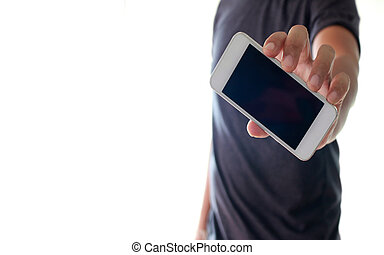 a man using hand holding the smartphone