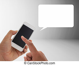 a man using hand holding the smartphone with opening  speech