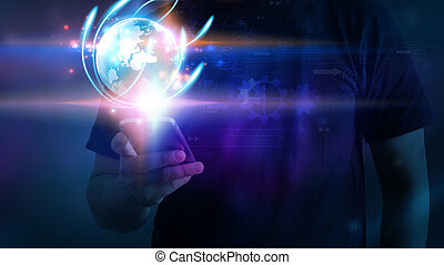 A man using smartphone with glowing globe.