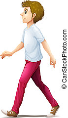 Illustration of a man walking on a white background