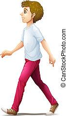 A man walking - Illustration of a man walking on a white...