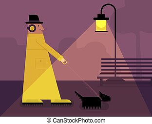 A man walking with a dog in the city park at night. Vector illustration
