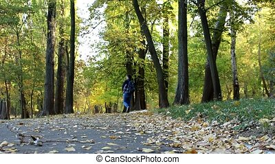 A man walks through the autumn alley among the trees and fallen leaves.