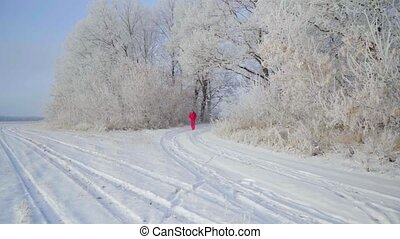 A man walks through a winter forest with snow covered trees on a beautiful frosty morning. Slow Motion.