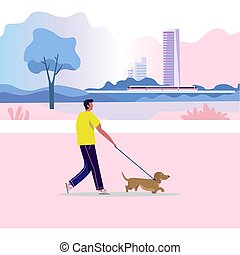 A man walks with a dog. Active lifestyle. The owner with the animal. Against city and electric train background, Vector illustration in cartoon style.